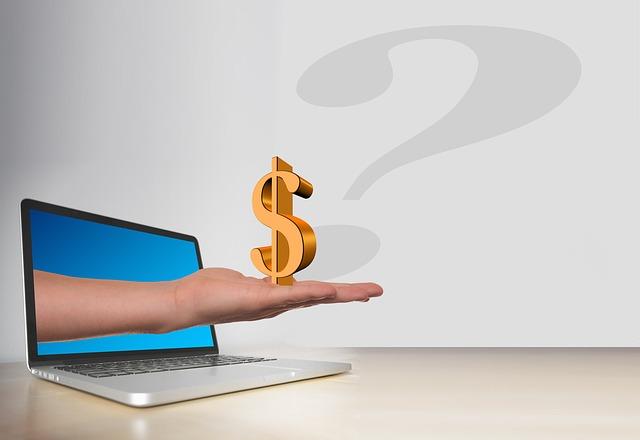 nabídka financí – symbol dolaru na dlani